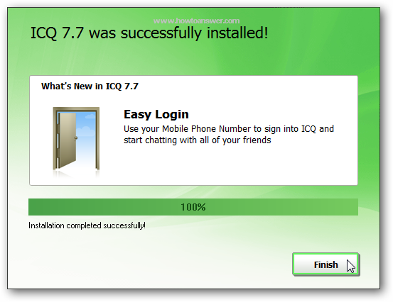 Confirmation that ICQ was successfully installed