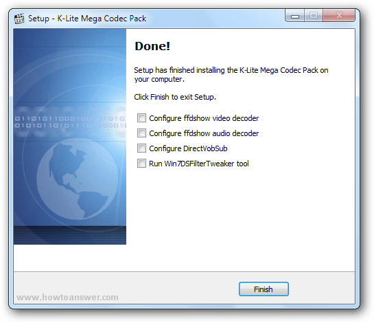 Setup has finished installing the K-Lite Mega Codec Pack