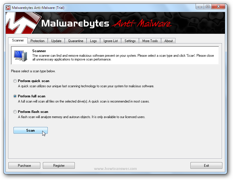 Malwarebytes Anti-Malware main interface