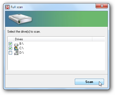 Select drives to scan
