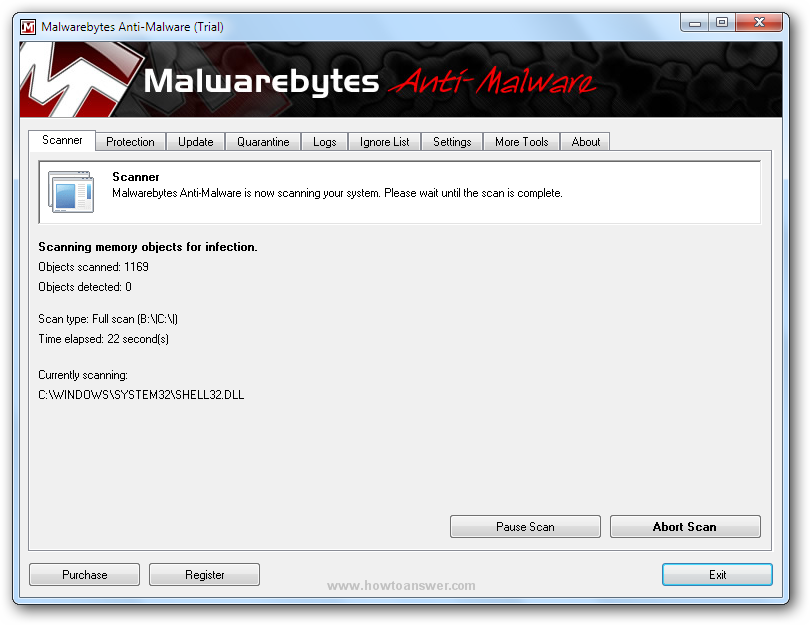 Malwarebytes Anti-Malware scan in progress