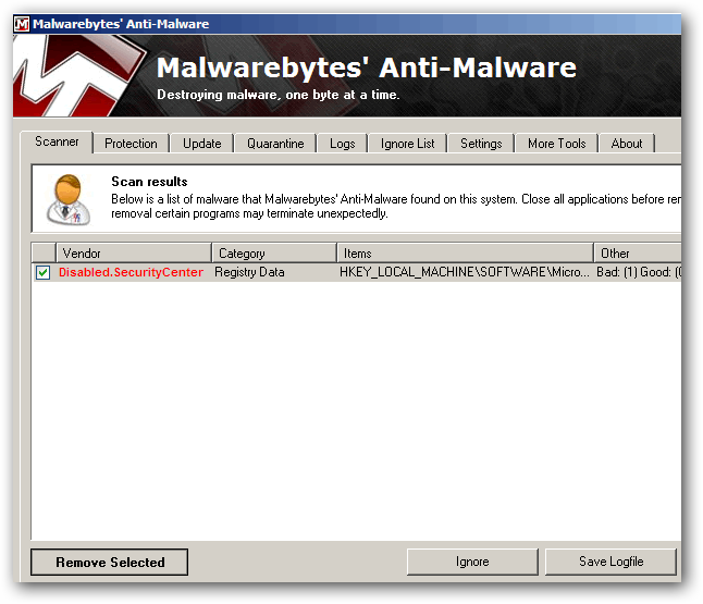 Infection found after Malwarebytes scan