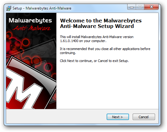 Welcome to Malwarebytes Anti-Malware Setup Wizard