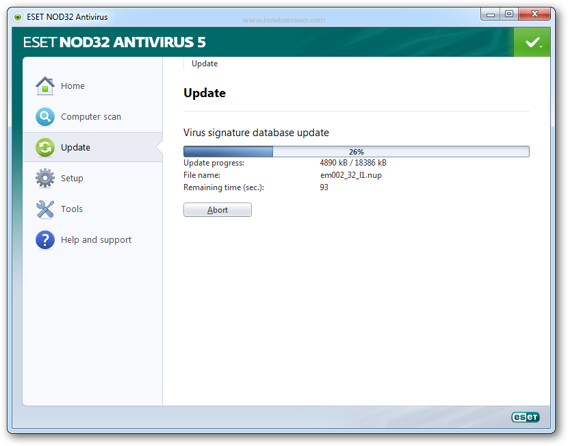NOD32 Antivirus virus signature database update