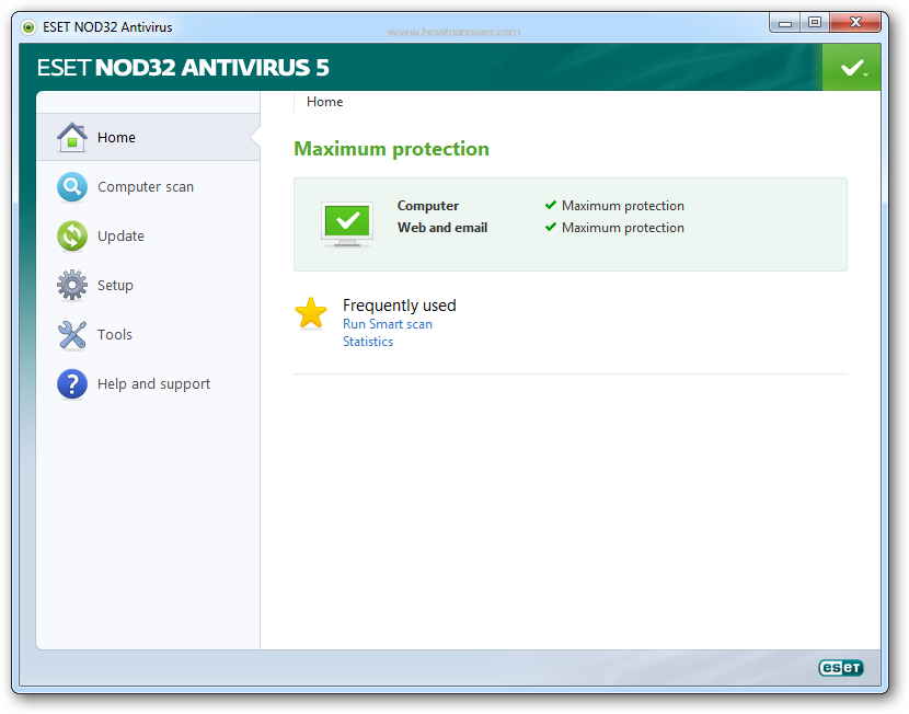 Eset NOD32 Antivirus 5 software interface