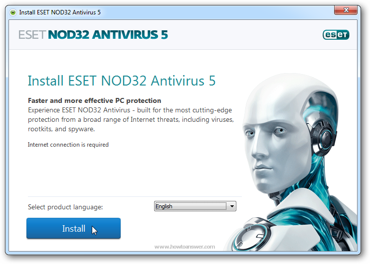 Select Eset NOD32 Antivirus Install Language