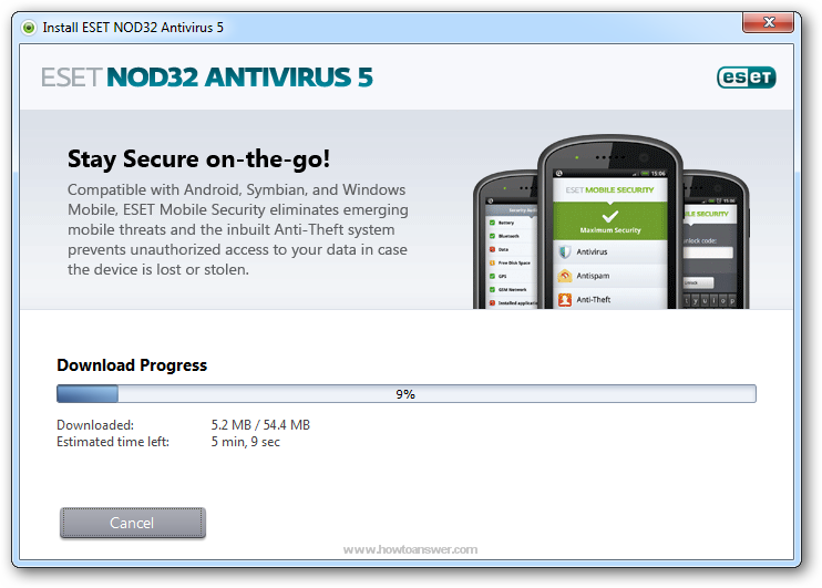 Eset NOD32 Antivirus Download Progress