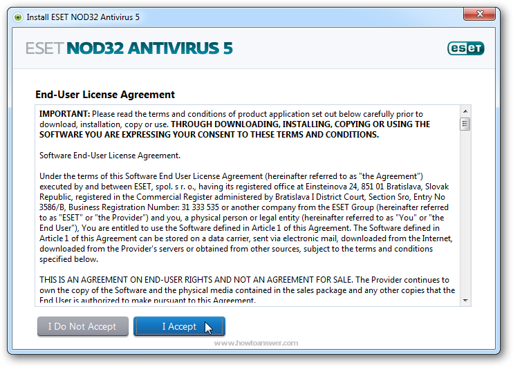 Accept Eset NOD32 Antivirus License Agreement