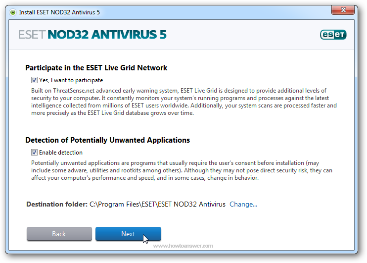 Participate in the ESET Live Grid Network and enable detection