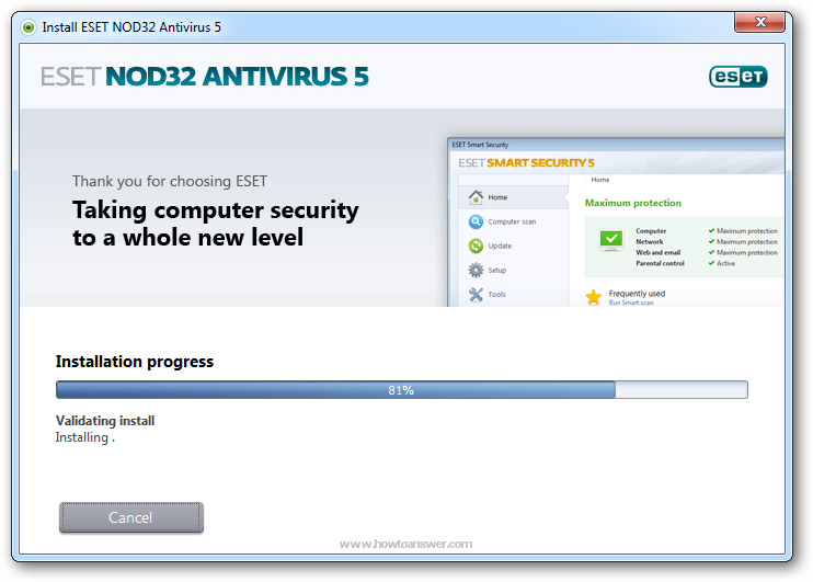 Installation progress for Eset NOD32 Antivirus
