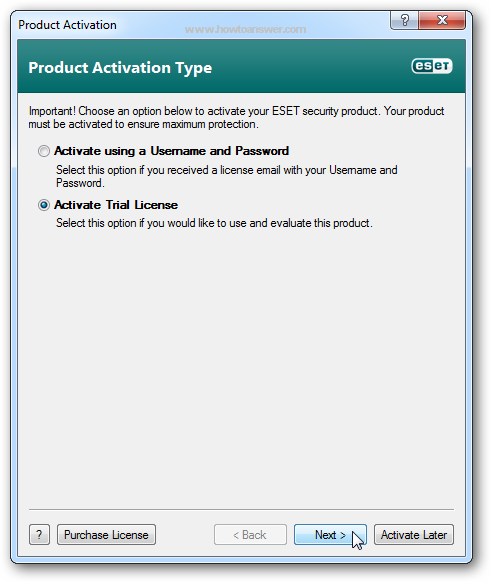 Product Activation Type for NOD32 Antivirus