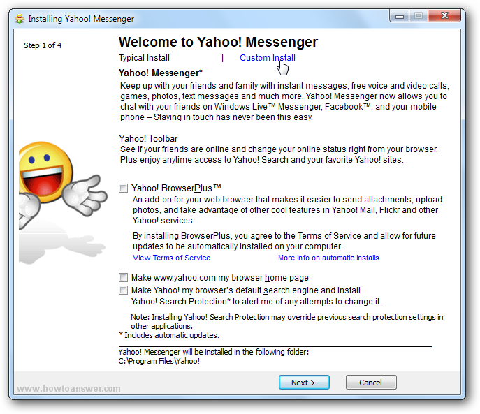 Install Yahoo Messenger without Yahoo Search toolbar