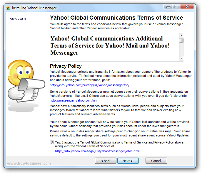Yahoo Terms of Service and Privacy Policy