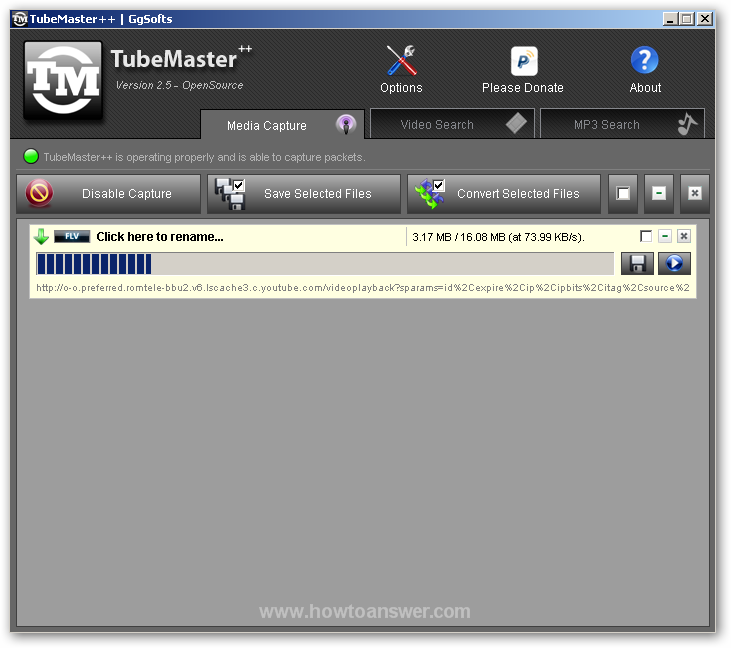 Media Capturre in action - TubeMaster interface