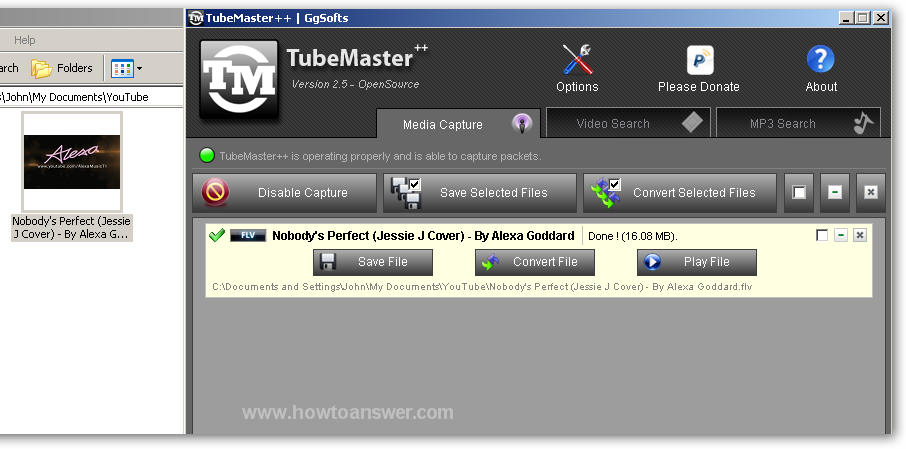 Convert file button in TubeMaster