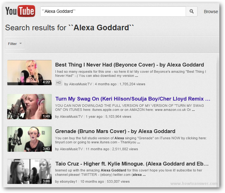 YouTube search results for Alexa Goddard