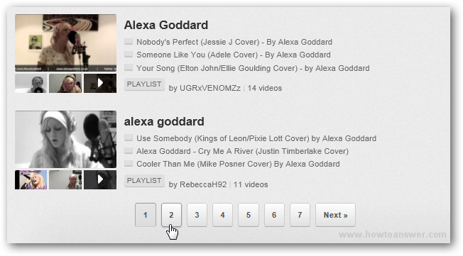 YouTube Alexa Goddard browse more results