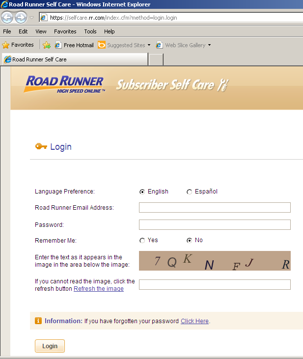 Road Runner Self Care login page