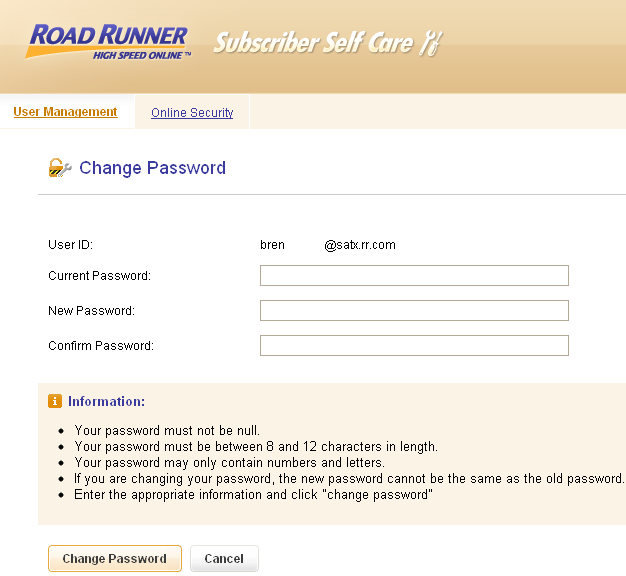 Change password window in Road Runner