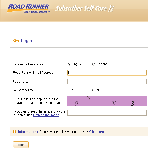 Road Runner login page for changing password