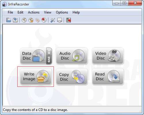 Write Image files (ISO) with InfraRecorder