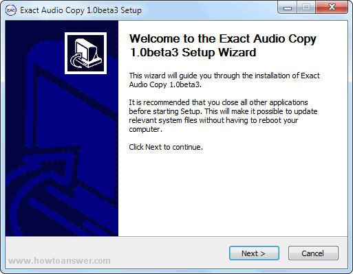 Exact Audio Copy Setup Wizard
