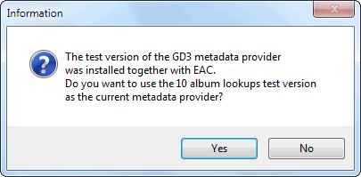 Information window for metadata provider