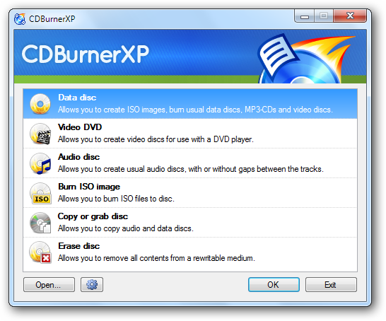 CDBurnerXP main interface