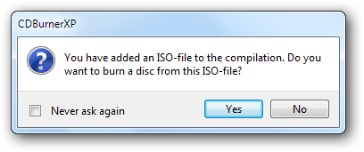 Burn disc confirmation window