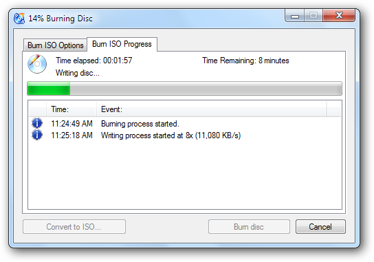 Burning process for CDBurnerXP