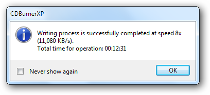 Writing process confirmation window