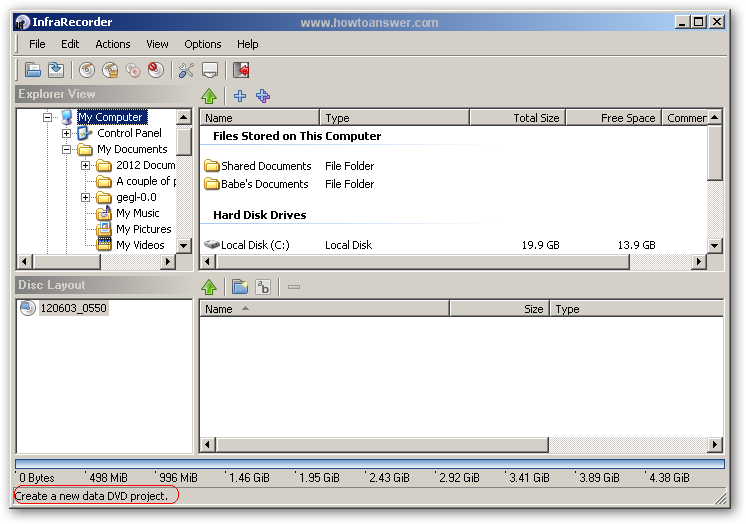 Explorer interface InfraRecorder