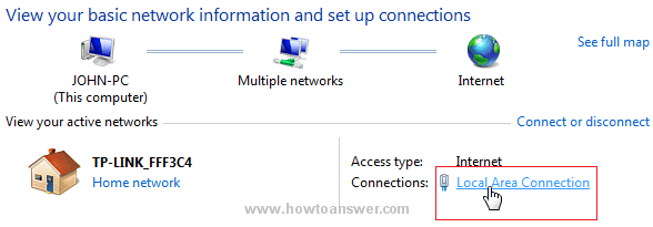 View active networks in Windows 7