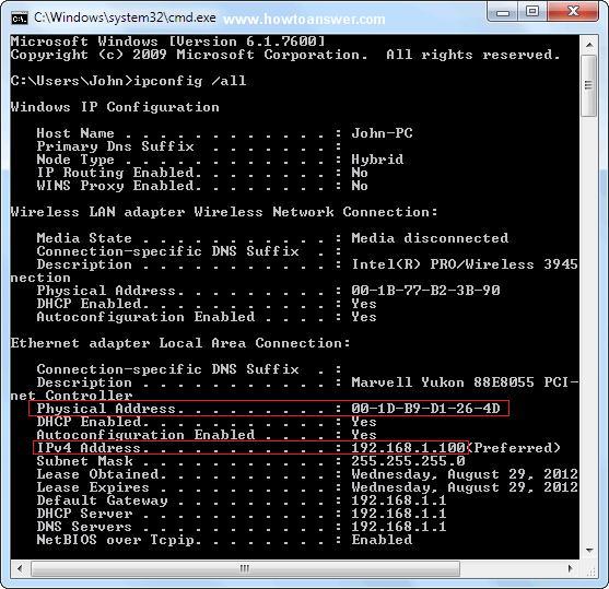 Mac and IP addresses in Windows 7 command prompt