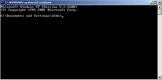 Windows Interpreter window aka Command Prompt