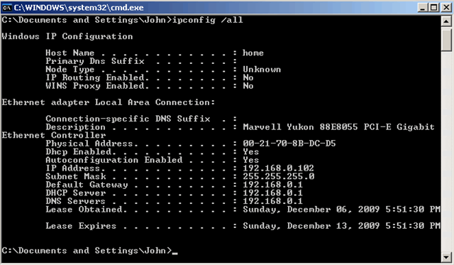 Mac and IP Address in Command Prompt