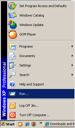 Start button in Windows XP