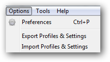 Export or Import profiles