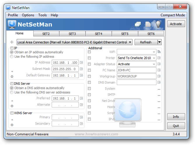 An example of a NetSetMan profile filled with current network settings using Get Settings command