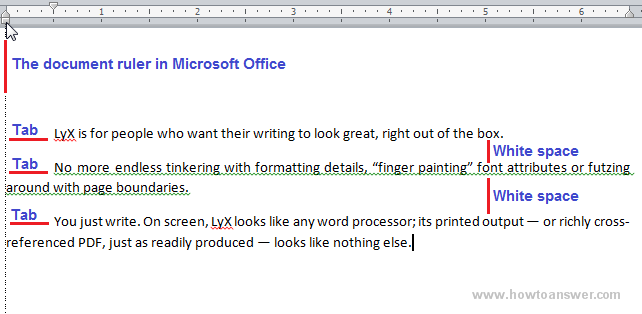 Document ruler tab and white space example in Microsoft Word