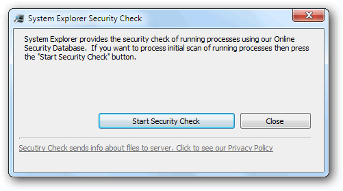 System Explorer security check window