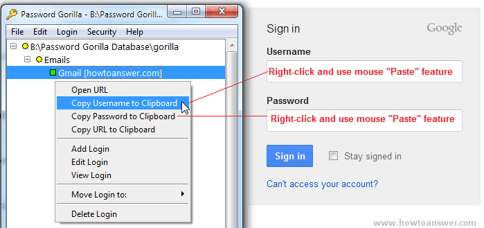 Password Gorilla copy username and password to clipboard