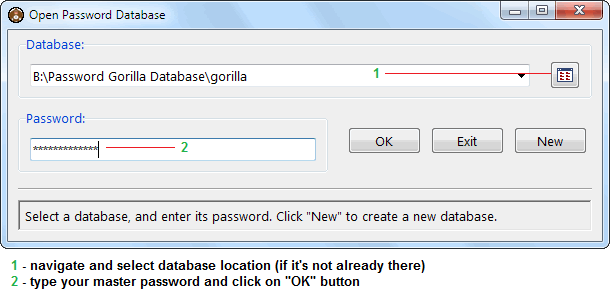Open password database