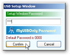 USB Setup Window