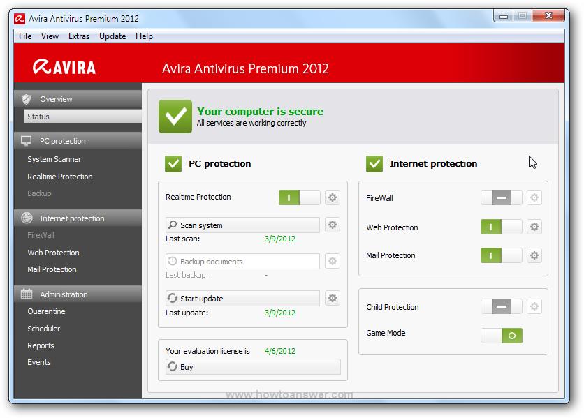Avira Antivirus Premium 2012.
