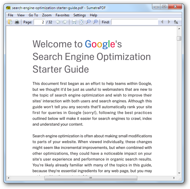 Google Search Engine Optimization Starter Guide opened in Sumatra PDF