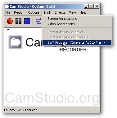 SWF Producer - Converts AVI to Flash from CamStudio