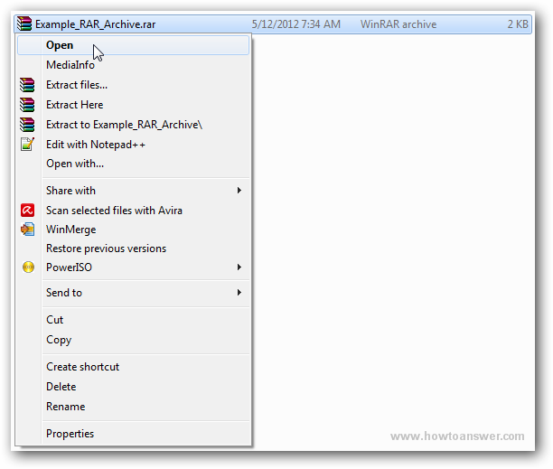 Open extract and create RAR files using WinRAR