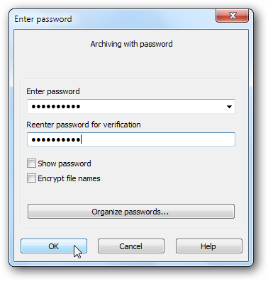 Adding a password in WinRAR to an archive