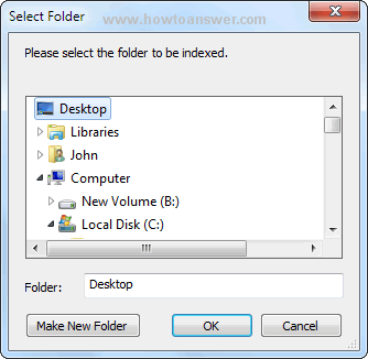 Select folder: Desktop